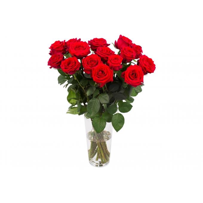 Boeket van 15 Rode Naomi rozen