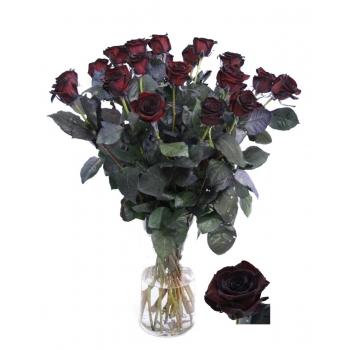 Zwarte Rozen boeket van lange grootbloemige geverfde Rozen