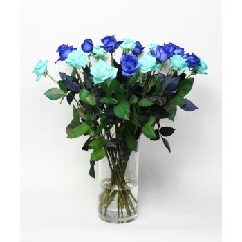 Rozen boeket 10 blauwe Rozen met 10 Ice Blue