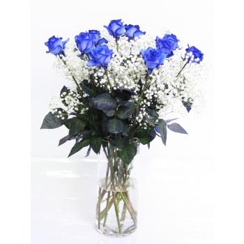 Blauwe Rozen boeket van 10 Rozen met Gypsophile wit