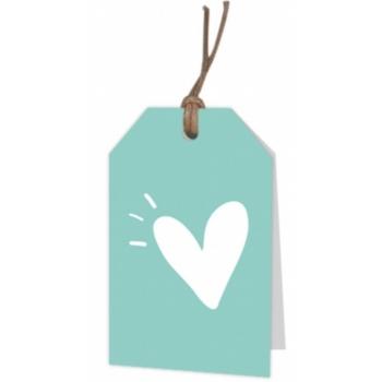 Blanco Hart op pastel blauw kaartje