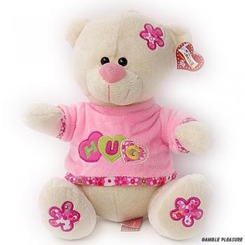 Knuffelbeer wit met roze kleding en tekst Hug