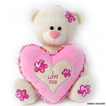 Knuffelbeer wit met roze hart en tekst I Love You