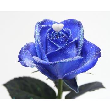 Boeket van blauwe geglitterde Rozen met een hartje