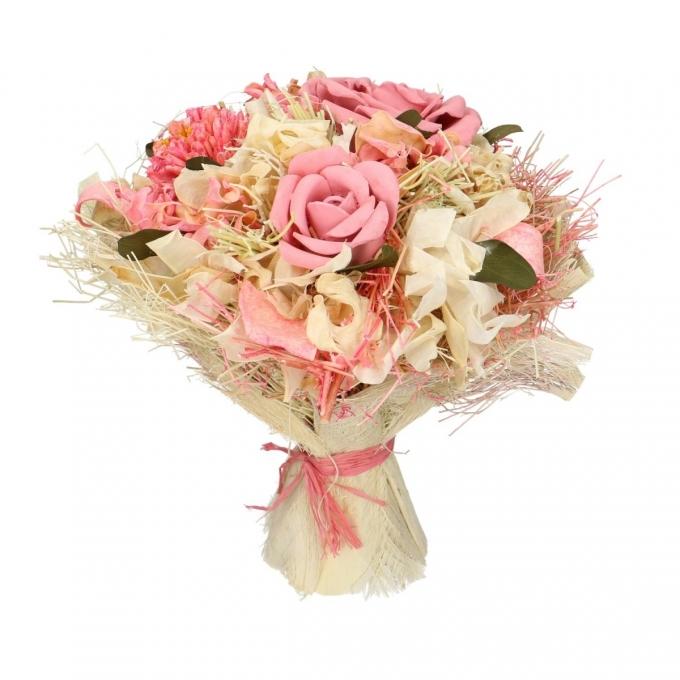 Droogbloemen boeket Lena roze