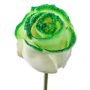 Boeket van grootbloemige wax Rozen wit met groene glitters