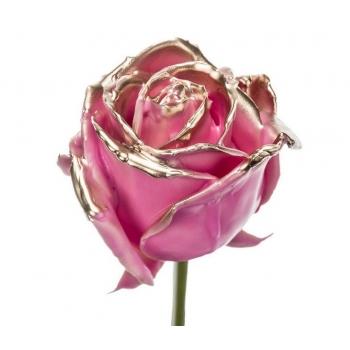 Boeket van grootbloemige wax Rozen roze met gouden blos