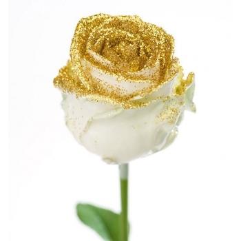Boeket van grootbloemige wax Rozen wit met gouden glitters