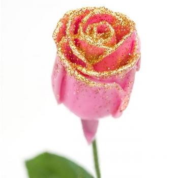 Boeket van grootbloemige wax Rozen roze met gouden glitters