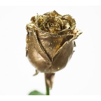 Boeket van grootbloemige wax Rozen goud met gouden glitters