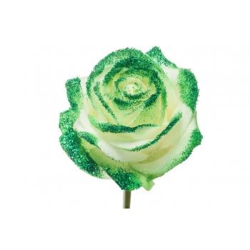 Boeket van witte grootbloemige Rozen met groene glitters