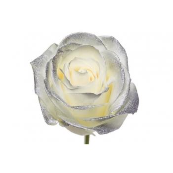 Boeket van witte grootbloemige Rozen met zilveren blos