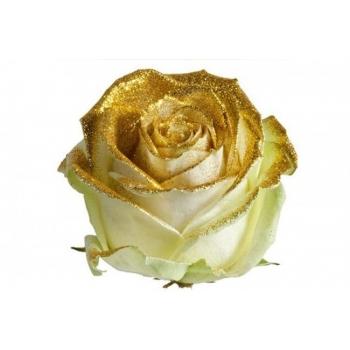 Boeket van grootbloemige witte Rozen met gouden glitters