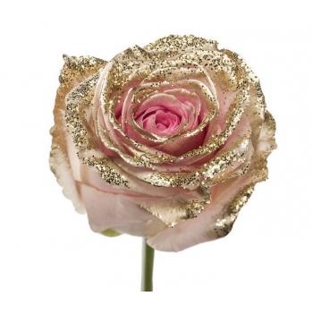 Boeket van grootbloemige roze Rozen met gouden glitters
