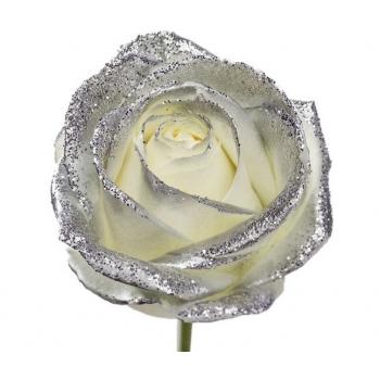 Boeket van grootbloemige witte Rozen met zilveren glitters