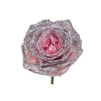 Boeket van grootbloemige roze Rozen met zilveren glitters