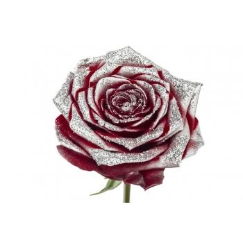 Boeket van grootbloemige rode Rozen met zilveren glitters