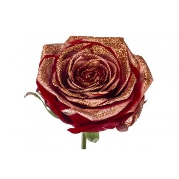 Boeket van grootbloemige rode Rozen met koperen glitters