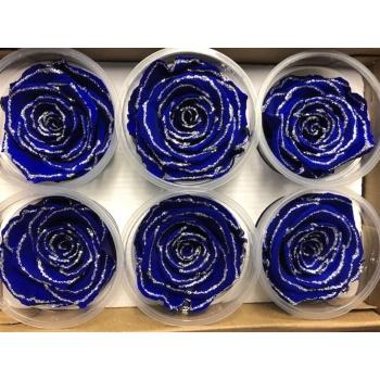 Geconserveerde blauwe Rozen met glitters in een cadeaubox