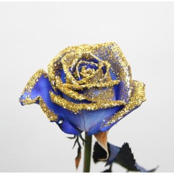 Boeket van blauwe Rozen met gouden glitters