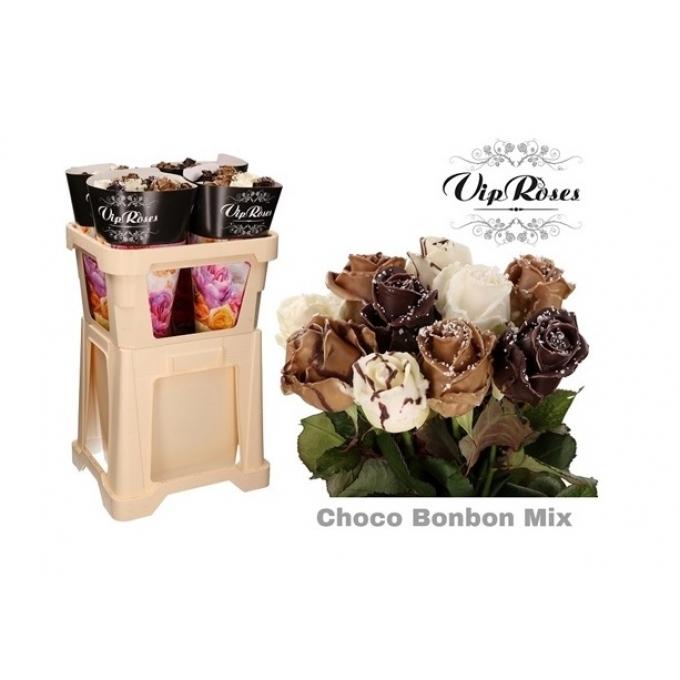 Boeket van 10 grootbloemige wax Rozen Choco Bonbon Mix