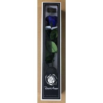 Geconserveerde blauwe Roos met steel in een cadeaubox