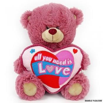 Knuffelbeer oud roze met hart kussentje