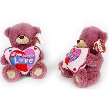 Knuffelbeer oud roze met vierkant kussentje