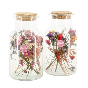 Droogbloemen in een glaspot met kurkdeksel